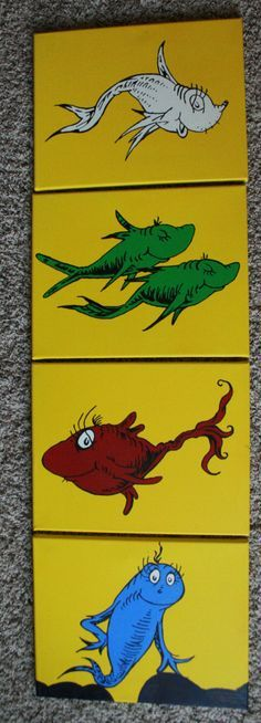 Dr. Seuss Inspired Canvas: One Fish Two Fish Red Fish Blue Fish - 4 piece set by OneCanvasLove on Etsy