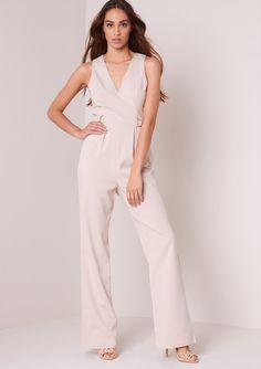 5dd6a98341d7 Missyempire - Selina Beige D-ring Tailored Wide Leg Jumpsuit Shades Of  Beige