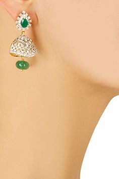 Zircon studded jhumki earrings with green onyx stone drop by Art Karat Shop now:http://www.perniaspopupshop.com/designers/art-karat #shopnow #perniaspopupshop #artkarat