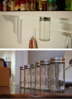 How to Setup a Magnetic, under-shelf spice rack - 60+ Innovative Kitchen Organization and Storage DIY Projects