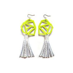 Neon Yellow Geometric Earrings with White Leather Tassels by BooandBooFactory