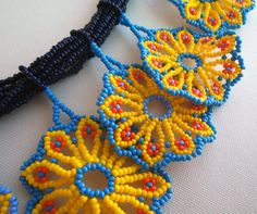 Mexican Huichol Beaded Flower Necklace and Earrings set by Aramara