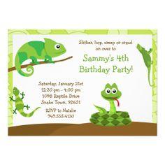 Kids Reptile Birthday Party Invitation