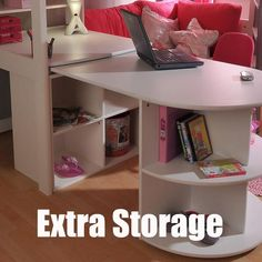 Stompa Casa 4 White High Sleeper with Sofa Bed & Pull Out Desk