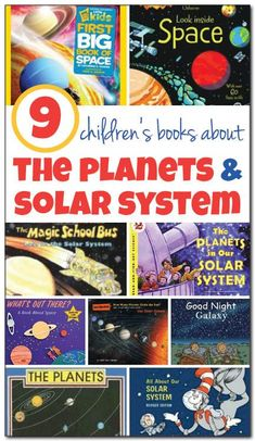 Space: ELA 9 children's books about the planets and our solar system, including books that will be enjoyed by kids from toddlers through late elementary school. Such great ideas for introducing kids to the wonder that is our solar system! Preschool Books, Preschool Science, Teaching Science, Science For Kids, Science Activities, Science Books, Preschool Snacks, Sequencing Activities, Science Projects