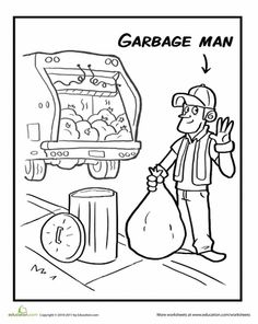 Community Helpers - Color the Garbage Man