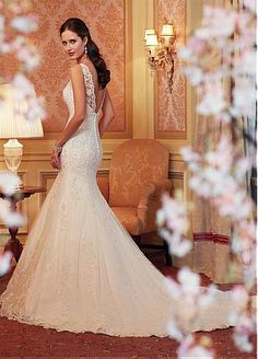 Buy discount Alluring Tulle & Satin Bateau Neckline Natural Waistline Mermaid Wedding Dress at Dressilyme.com