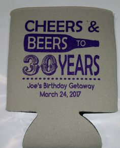 GRAY COOLER WITH DARK PURPLE INK 30TH BIRTHDAY DESIGN