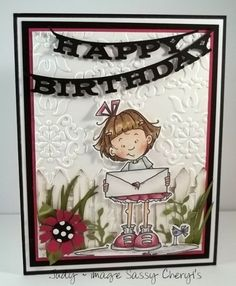 Sassy Cheryl's Anything Goes challenge.  Interesting use of background with the stamped (fussy cut) front.
