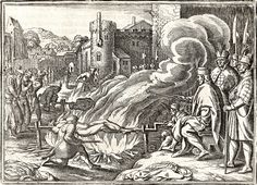 Ivan the Terrible roasts Johann Boy, governor of Livonia, on a spit, 1573. Engraving, c. 1630. AKG Images