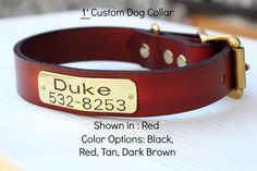 Leather Dog Collar with Custom name and Info by MagnusLeatherbelts, $22.00