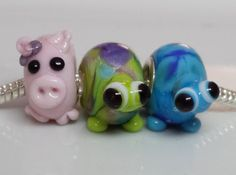 Pig/tortoise Lampwork glass bead big hole to by BdazzledJewellery