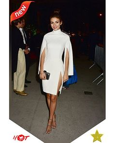 Splurge: Victoria Justice's Tony Awards After Party House of CB White Kristiana Crepe Cape Sleeve Dress, Vince Camuto Bayron Sandals, and Adriana Castro Silver Snake Minaudiere Hottest Female Celebrities, Beautiful Celebrities, Celebs, Tony Award, Cape Sleeve Dress, Cape Dress, Daily Fashion, Fashion News, Fashion 2016