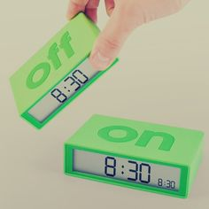 Flip On/Off Alarm Clock -Recognizing that most people are absolutely useless in the mornings (or after a nap), the Flip Alarm Clock dispenses with complicated settings and control panels. Lightweight and colorful, it's the clock that keeps things simple.   Featuring a big bold design, there are two sides to this timepiece – ON and OFF – meaning you just flip it to the side you need. The technology inside will recognize which end is up and alert you as requested. $50
