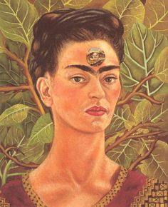 Frida Kahlo - Self-Portrait - Thinking about death.