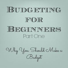 Gingerly Made: Budgeting for Beginners: Part One