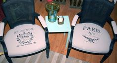 Fabric with Annie Sloan Chalk Paint | Rick Cheadle Designs. I must do this to the old chairs I got from work....