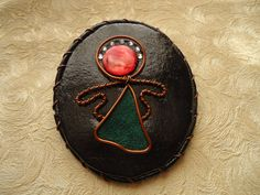 Brooch is made in stained glass technique. Material - natural leather, suede, pearl, copper wire. Size 7.0х8.5 cm