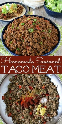 This Homemade Seasoned Taco Meat is perfect for all of your favorite Mexican dishes. Making homemade ground turkey or ground beef tacos ensures you know exactly what's going in your tortillas and you can customize it to suit your taste. The taco meat sea Ground Turkey Tacos, Ground Turkey Recipes, Ground Beef Burritos, Ground Beef Taco Seasoning, Ground Meat, Mexican Dishes, Mexican Food Recipes, Healthy Recipes, Dessert Recipes