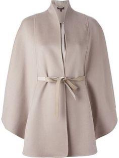 Loro piana Belted Cape Coat in Natural Coat Patterns, Dress Sewing Patterns, Hijab Fashion, Fashion Dresses, Mode Kimono, Capes For Women, Cape Coat, Blouse Designs, Autumn Winter Fashion