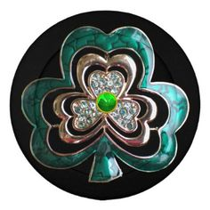 Gold Saint Patrick Shamrock Jewel Button Covers - romantic wedding love couple marriage wedding preparations