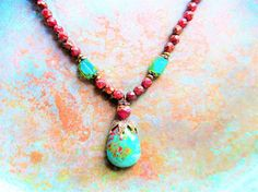 Rare Chrysocolla necklace turquoise necklace bohemian