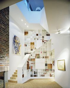 books!  stairs!  shelves!