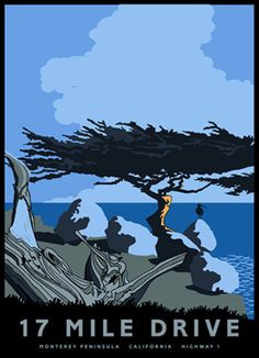 17 Mile Drive, Monterey Peninsula, California, Highway 1 by Jake Early National Park Posters, Us National Parks, Monterey Cypress, Pacific Coast Highway, Highway 1, Monterey Peninsula, Safari, California Dreamin', Vintage Travel Posters