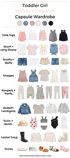 Toddler Girl Capsule Wardrobe: Spring and Summer! A summer wardrobe for your toddler girl! Great toddler girl clothes for summer vacations or trips to the beach. This capsule wardrobe for summer can be used as a shopping checklist when your go to buy your Trendy Toddler Girl Clothes, Toddler Fall Outfits Girl, Toddler Girl Style, Girls Summer Outfits, Little Girl Outfits, Little Girl Fashion, Baby Outfits, Toddler Fashion, Fashion Kids