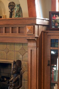 Mullet Cabinet   Craftsman Mantel And Library Shelves Created With The  Warmth Of Quarter Sawn Red