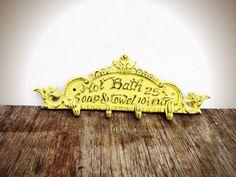 BOLD lemongrass yellow BATH sign towel hook // by BOLDHOUSE