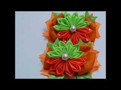 Nuevo diseño de flor dobles listón gros. video 574, Flor kanzashi de liston - YouTube