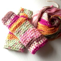 Neopolitan Fingerless Gloves Fabulous Brushed by LazyTcrochet