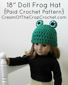 "Cream of the Crop Crochet~18"" Doll Frog Hat {paid #crochet pattern} #handmade"