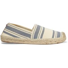 Tory Burch Striped canvas espadrilles (€69) ❤ liked on Polyvore featuring shoes, sandals, cream, cream sandals, espadrille sandals, striped espadrilles, tory burch sandals and espadrille shoes