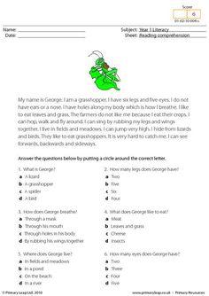 PrimaryLeap.co.uk - Reading comprehension - I am a grasshopper Worksheet