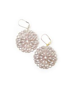 Lacey round filigree earrings that remind me of snowflakes.