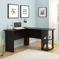 L-Shaped Desk Home Office Furniture Study Table Side Storage Black Ebony Finish #LShapedDesk