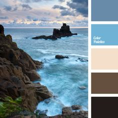 Includes a beautiful color of the sea before storm beneficially shaded by dark rocks. All colors contrast each other very harmoniously and delicately. This combination of colors would be appropriate in the interior of a spa salon, a pool or a sauna. These colors can be used for corporate clothing style.