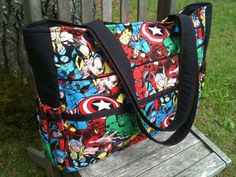 The ultimate diaper bag for dads, Marvel comic avengers and black with magnetic snap on Etsy NO LONGER AVAILABLE - Visit to grab an amazing super hero shirt now on sale! Marvel Baby Shower, Baby Boy Shower, Trendy Baby Boy Clothes, Baby Boy Outfits, Dad Diaper Bag, Baby Supplies, Baby Boy Nurseries, Baby Accessories, Baby Gear