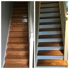 Stair makeover in primed risers and a solid walnut step