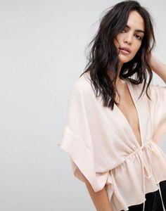 ASOS DESIGN kimono top with drawstring