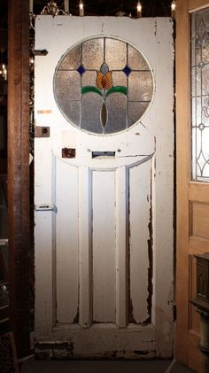 Antique Tudor Door with Round Stained Glass Window, Early For Sale… Antique Stained Glass Windows, Stained Glass Door, Antique Windows, Glass Panel Door, Glass Front Door, Stained Glass Designs, Stained Glass Panels, Leaded Glass, Mosaic Glass