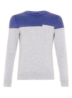 Grey/Blue Textured Cut And Sew Sweatshirt