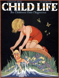 Vintage Child Life 1928 Cover--Girl And Dolly in the Ocean