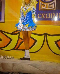 Amazing Blue Elevation Design Irish Dance Dress Solo Costume For Sale