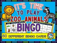 Who doesn't love to play Bingo? This cute set (of 60 bingo cards ) is ideal to practice and revise zoo animals vocabulary: hippo, lion, elephant, rhino, monkey, giraffe, tiger, alligator, snake, zebra, gorilla and flamingo. Here you will find 30 different bingo cards with picture representations of the mentioned animals and 30 cards with the corresponding words.
