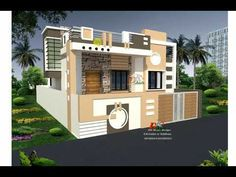 Modern Bungalow House, Cottage Style House Plans, Modern Houses, House Outside Design, House Gate Design, 3d Home Design, House Design Photos, House Elevation, Front Elevation