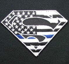Superman American Flag Police Thin Blue Line SWAT Combat Military Velcro Patch   eBay