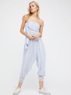 Just Like This Convertible Jumpsuit   From harem pants to a strapless jumpsuit, there are so many ways to wear this convertible style.      * Elastic smocked waistband with burnout detailing    * Adjustable tie    * Elastic cuffs